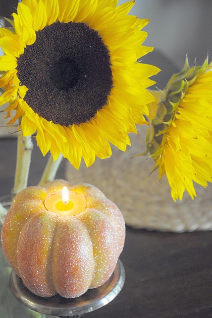 DIY Glitter Pumpkin Candle Holders