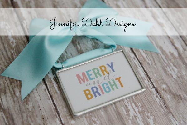 Merry bright pastel ornament