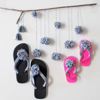 DIY: Pom Pom Flip Flops
